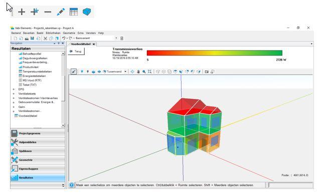 3D weergave van uitvoertabel