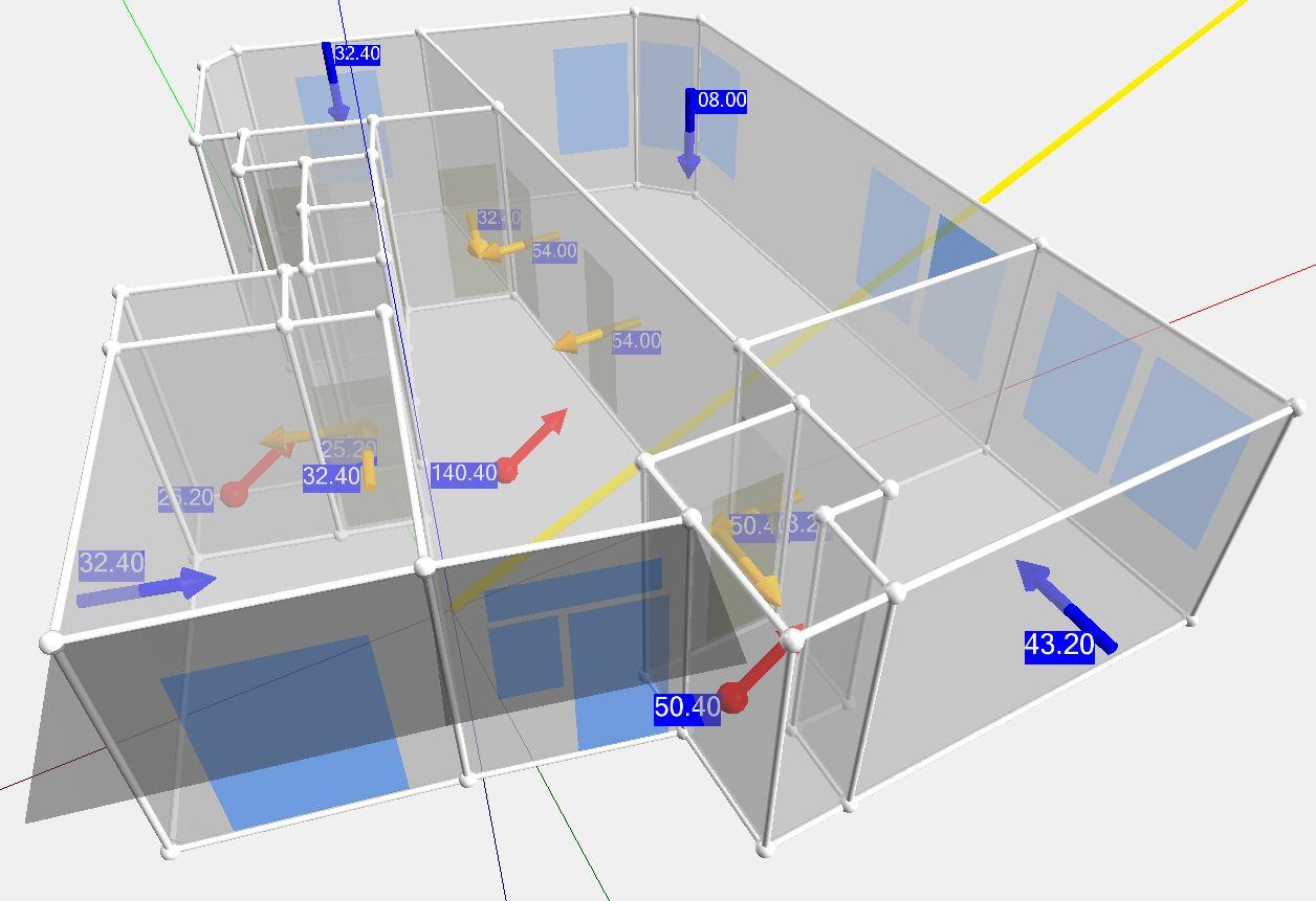Ventilatiestromen in 3D weergave