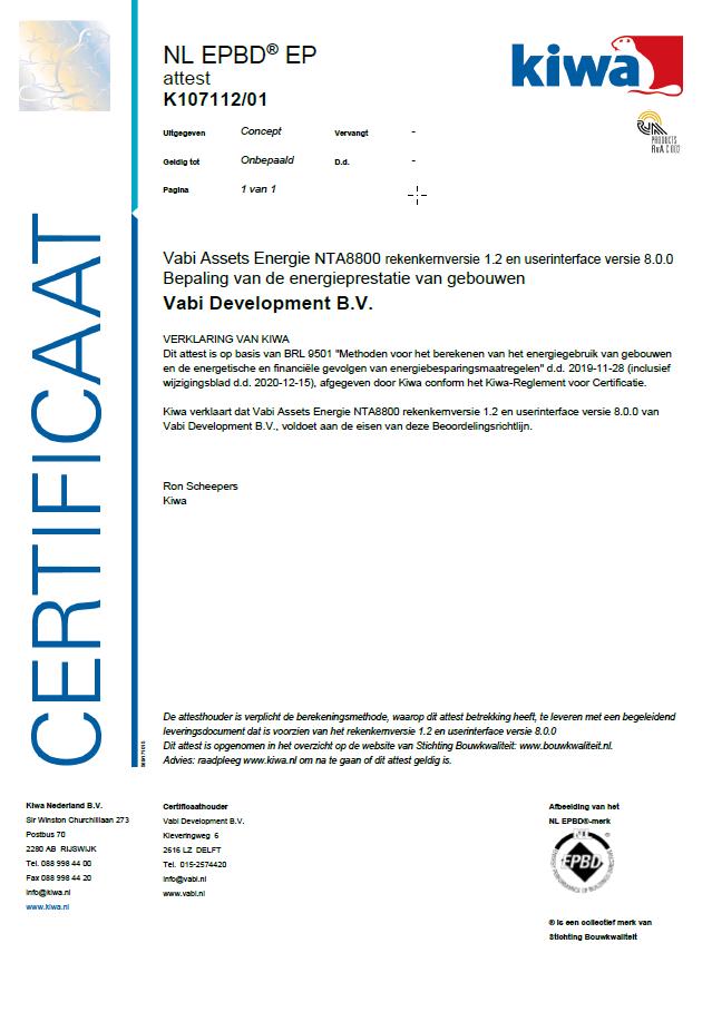KIWA certificaat Vabi Assets Energie